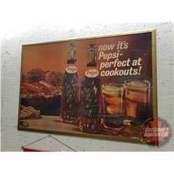 "Pepsi Advertisement (Paper Ad Cardboard Mounted) in Frame (26""H x 37-1/2""W)"