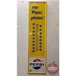 """Pepsi Tin Wall Thermometer """"Say Pepsi Please"""" (28""""H x 7""""W)"""
