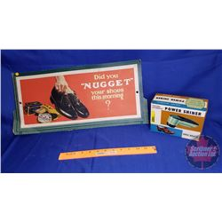 """Did You NUGGET Your Shoes This Morning?"" Cardboard Ad & Electric Power Shiner"