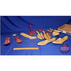 Tray Lot: Cast Cobbler Shoe Last & Wood Shoe Stretchers & Wire Sock Stretchers