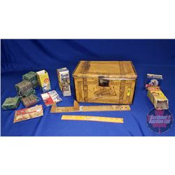 """Glycerole for Oiling & Dressing Shoes Tin Box w/Variety of shoe heel Boxes, etc (Tin: 7""""H x 13""""W x 8"""