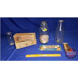 "Collector Combo: 2 Wooden Cheese Boxes, 2 Milk Bottles, 1 Jar with Milk Pogs & a ""Chocolate Flavoure"