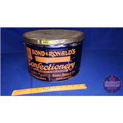"Bond & Ronald's Confectionery Tin (8""H x 12"" Dia)"