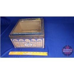 "Sunshine Biscuits Cardboard Tin with Glass Window Lid (10-1/2"" x 10-1/2"" x 6-1/4"")"