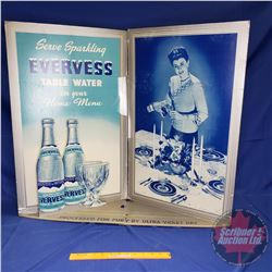 "Cardboard Store Display Ad ""EVERESS"" Table Water ""Product of Pepsi Cola Co."" (29""H x 33""W x 9""D)"