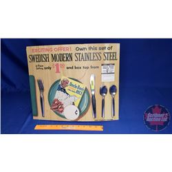 "Uncle Ben's Cardboard Store Display - Promotional Give Away Cutlery Set ! (14""H x 17""W)"