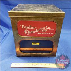 """The Paulin Chambers Co. Ltd. Winnipeg, Man. Tin - Glass Front Window (11-1/2""""H x 10-1/2""""W x 10-1/2""""D"""