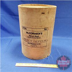 "Cardboard Drum ""McCormick's"" ""Black Pepper"" (15-1/2""H x 11""Dia)"