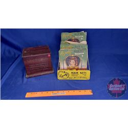"Royalty Hair Nets Countertop Store Display w/4 Hair Net Packages (empty) & ""West"" Hair Nets Tin w/Co"