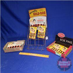 """Solo"" ""Bob Pins"" Counter Top Store Display w/Bob Pins & ""Gayla Hold-Bob"" Display Rack w/Bob Pins (S"