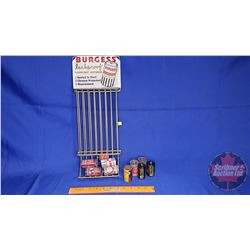 "Burgess Battery Store Display Rack with a Variety of Vintage Batteries (19""H)"
