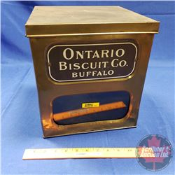 "Brass Biscuit Tin w/Glass Front Window ""Ontario Biscuit Co. Buffalo"" (11-1/2""H x 10""W x 10""D)"