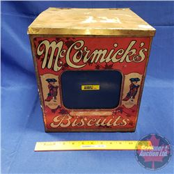 "Biscuit Tin w/Glass Front Window ""McCormicks Biscuits"" (11-1/2""H x 10""W x 10""D)"