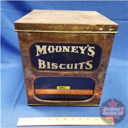 "Brass Biscuit Tin w/Glass Front Window ""Mooney's Biscuits"" (11-1/2""H x 10""W x 10""D)"