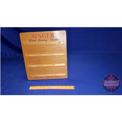 """Singer Hand Sewing Needles"" Wooden Store Display Rack (14""H x 12""W)"