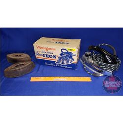 Westinghouse Open Handle Steam Iron in Original Box & Pair of Sad Irons