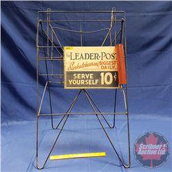 "Leader Post Newspaper Display Rack ""Serve Yourself 10 Cent"" (31""H)"