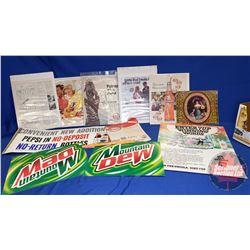 Box Lot: Variety of Orange Crush, Pepsi, 7-UP Cardboard/Paper Advertising (See Pics)