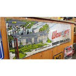 "Wawanesa Insurance Sign - Double Sided Tin (70"" x 21"")"