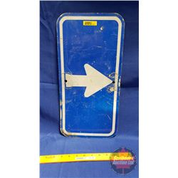 "Blue & White Arrow Sign (17-1/2"" x 8-3/4"")"