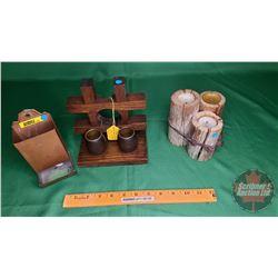 Mission Style Antique Oak Match Stick Holder c.1920; Matchbox Holder & Candles