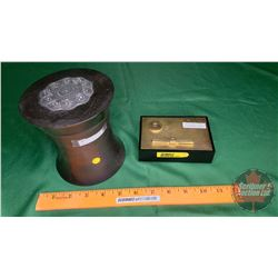 """Desktop Lighter """"Maruman T-7"""" & Antique Wood Tobacco Humidor"""