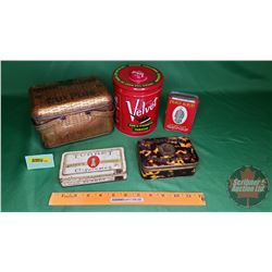 Tobacco & Cigarette Tin Group (5): Union Leader Lunchbox, Prince Albert Pocket Tin, Tortoise Shell,
