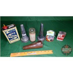Esso Safety Flare in Tube & 2 Oiler Jar Spouts & 1 Copper Oil Spout/Funnel & Sulflo Cutting Fluid, P