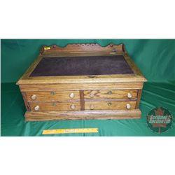 "Oak Antique Desk/Spool Cabinet - Flip Up Top - Lockable (w/Key) (14""H x 28""W x 20""D)"