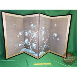 "Antique Oriental Folding Screen - 4 Panel (35-1/2""H Tall) (Each Panel is 17-1/2"" Wide)"