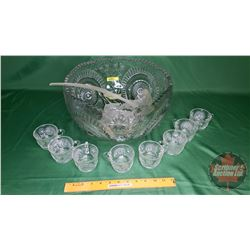 "Crystal Punch Bowl Set - Clear - 12 Cups (8""H x 13""Dia)"