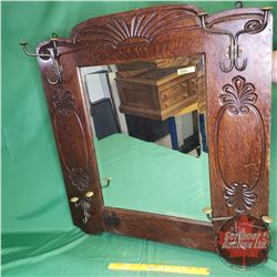 "Victorian Hall Mirror c.1900 with Hooks (30"" x 28"")"
