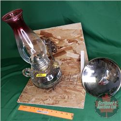 Antique Bracket Coal Oil Lamp - Raspberry Tip Chimney w/Mercury Reflector (Reflector needs Repair)