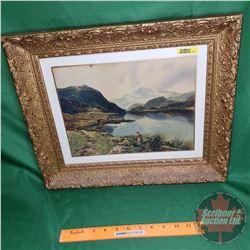 """Framed Print (Lovely Mountain/Lake/Farm Scene) (14-3/4"""" x 17-3/4"""")"""
