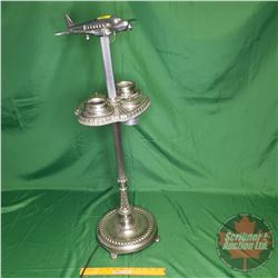 """Art Deco Light Up Airplane Ashtray (Note: 1 Prop Missing) (33""""H)"""