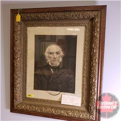"Framed Portrait Print of ""William Gladstone"" Prime Minister of United Kingdom 1868 (28-1/2"" x 24-1/2"