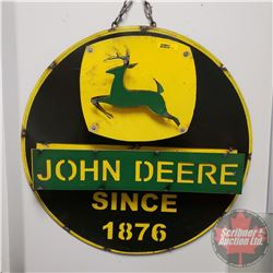 "John Deere Metal Sign - Raised - Welded (22-3/4""Dia)"