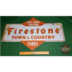 "Tin Sign - Double Sided ""Firestone Tires"" (28-3/4"" x 17-1/2"")"