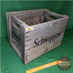 "Schweppes Wooden Pop Crate with Variety of Pop Bottles (23) (12-1/2"" x 17-1/2"" x 12"")"