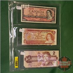 Canada $2 Bills (3): 1954; 1974; 1986 (See Pics for Signatures & Serial Numbers)