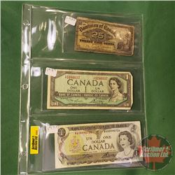 "Canada Bills (3): 1973 $1 ; 1954 $1 Bill ; 1900 Twenty Five Cent ""Shinplaster"""