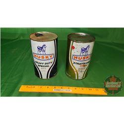 "Husky Oil Tins (2) (6-1/2"" x 4""Dia)"