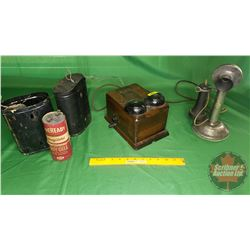 Northern Electric Company Candle Stick Phone & Wood Box Ringer & 2 Battery Cases with 2 Dry Cell Bat