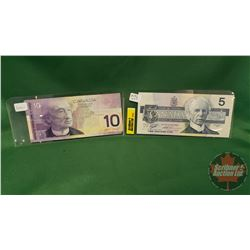 Canada Bills (2): 1986 $5 ; 2001 $10  (See Pics for Signatures & Serial Numbers)