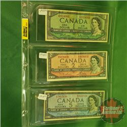 Canada Bills 1954 (3): $1 ; $2 ; $5 (See Pics for Signatures & Serial Numbers)