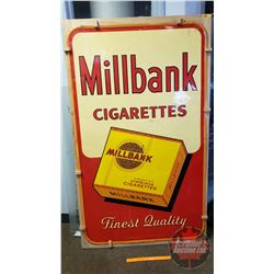 """""""MILBANK Cigarettes"""" Tin Sign 1951 (Mounted to Plywood, but is removable) (59-1/2"""" x 35-1/4"""")"""
