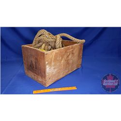 """Occidental Fruit Co. Wooden Crate with Large Rope (Crate: 11"""" x 12"""" x 19"""")"""