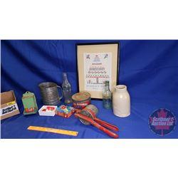 Tray Lot: Vintage Kitchen Items (Framed Stitch Sample, Matchbox Holder, Juicer, Crock, Bottles, Blue