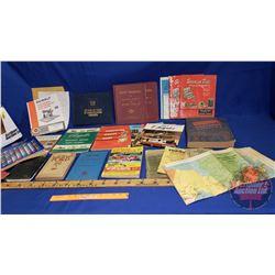 Box Lot: Automotive Books, Manuals & Valve Organizer Stick & 1939 North America Roadways Map