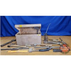 """Wood Box Chest: Large Variety of Hand Tools (Box = 10""""H x 18-1/2""""W x 10""""D)"""